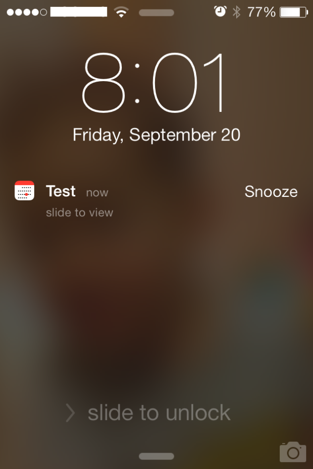 Snooze Calendar Events from the notification screen with iOS7