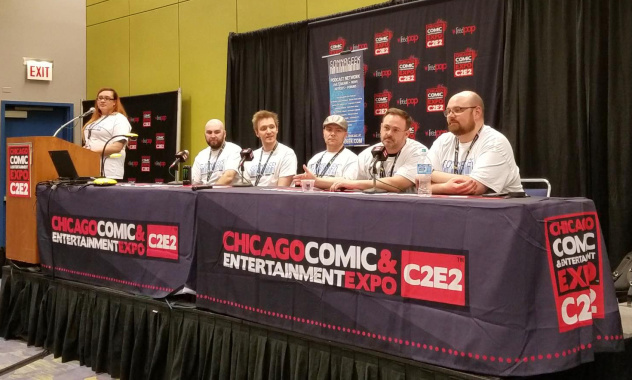 """Everyday Podcasting For Your Everyday Life"" C2E2 Panelists. L to R Naki, Willie Nelson, Cody Gough (#Verified), Beef, Stargate Pioneer and Chris Ferrell"