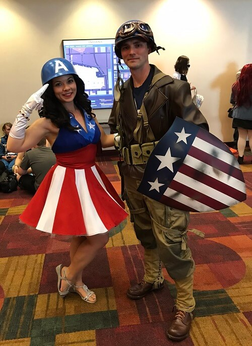 Captain America and a USO girl cosplay
