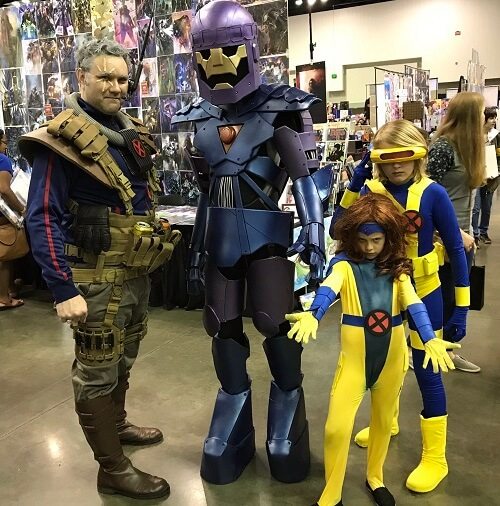 The Summers family and a Sentinel Marvel cosplay